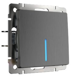 Выключатель одноклавишный с подсветкой (графит рифленый) W1110104