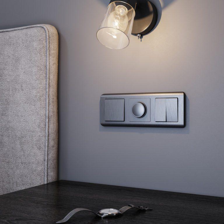 Выключатель  двухклавишный (графит рифленый) W1120004