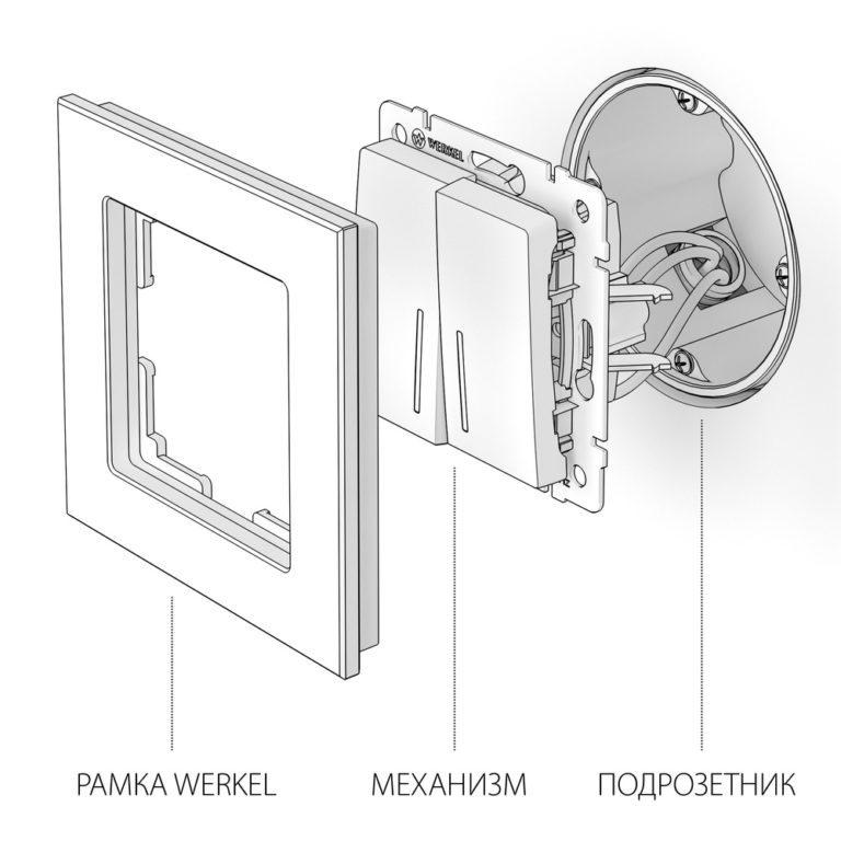 Выключатель двухклавишный проходной с подсветкой (графит рифленый) W1122104