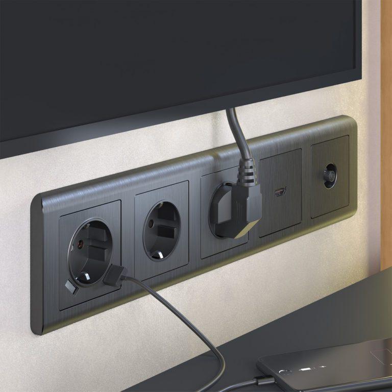 ТВ-розетка оконечная (графит рифленый) W1183004
