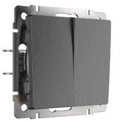 Выключатель двухклавишный проходной (графит рифленый) W1122004