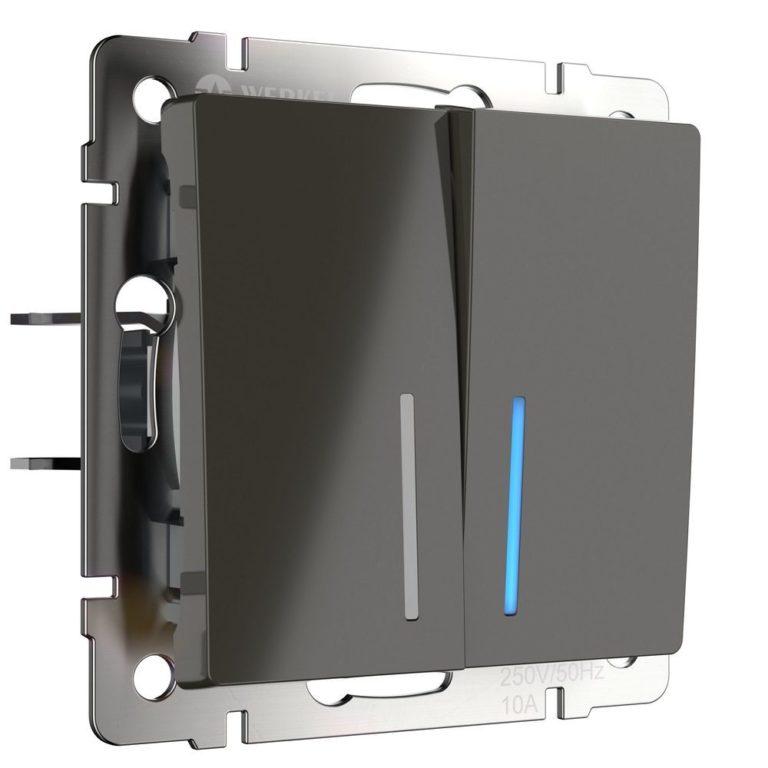 Выключатель двухклавишный с подсветкой (серо-коричневый) W1120107