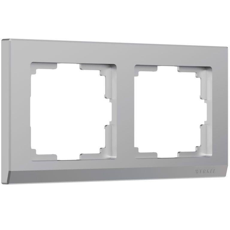 Рамка на 2 поста (серебряный) W0021806