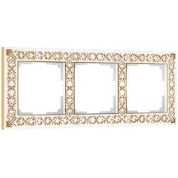 Рамка на 3 поста (белое золото) W0031523