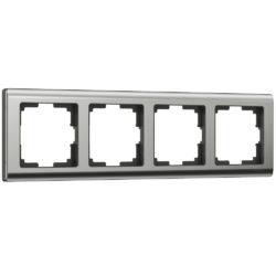 Рамка на 4 поста (глянцевый никель) W0041602