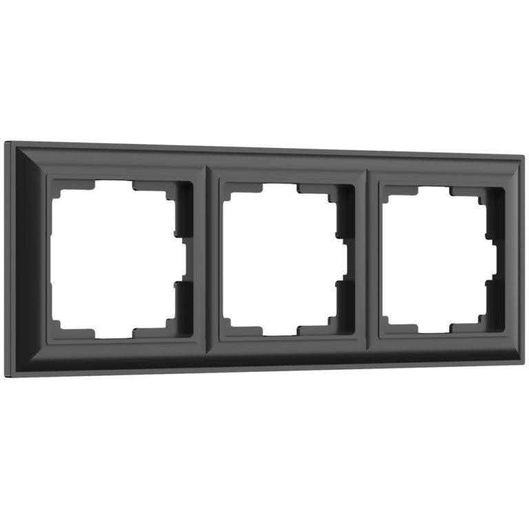 Рамка на 3 поста (черный матовый) W0032208