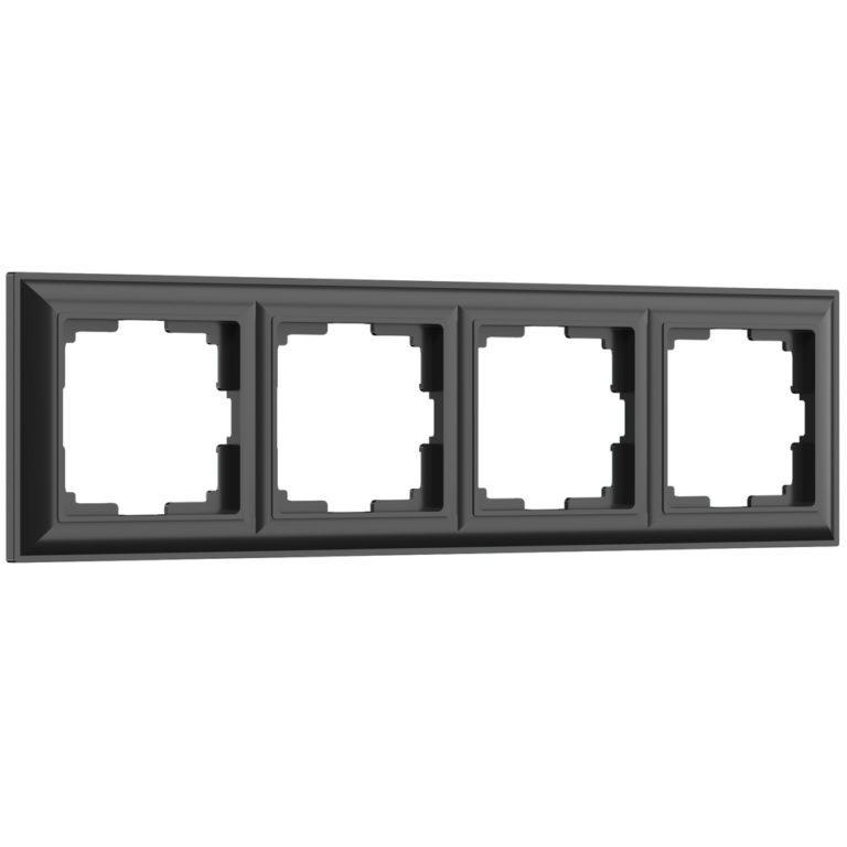 Рамка на 4 поста (черный матовый) W0042208