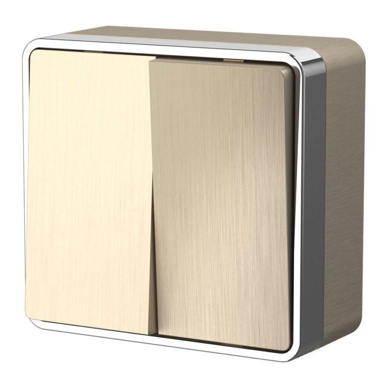 Выключатель двухклавишный Gallant (шампань рифленый) W5020010