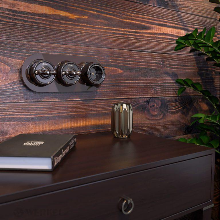 Переключатель одноклавишный (коричневый) Ретро W5612014