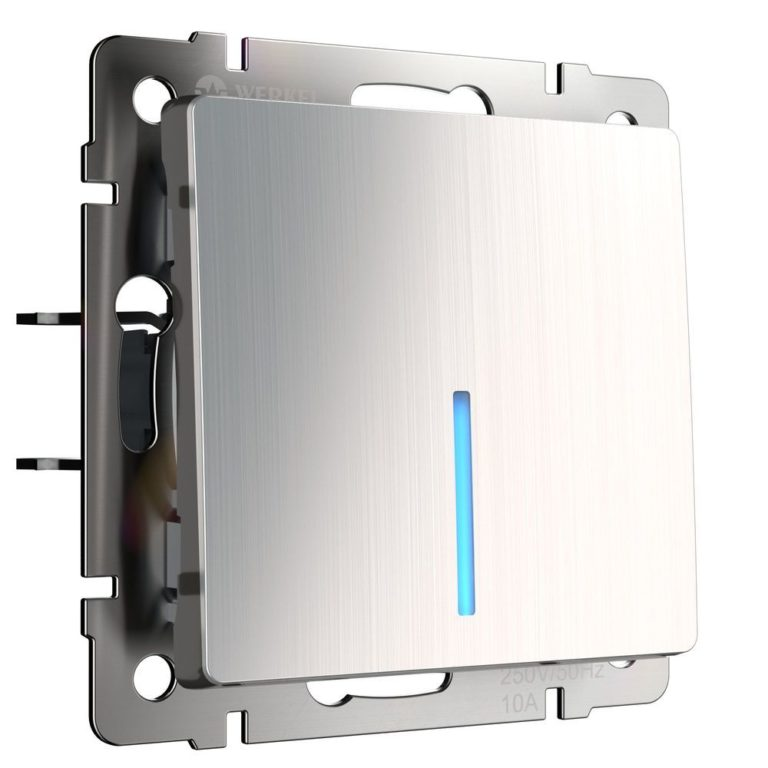 Выключатель одноклавишный с подсветкой (глянцевый никель) W1110102