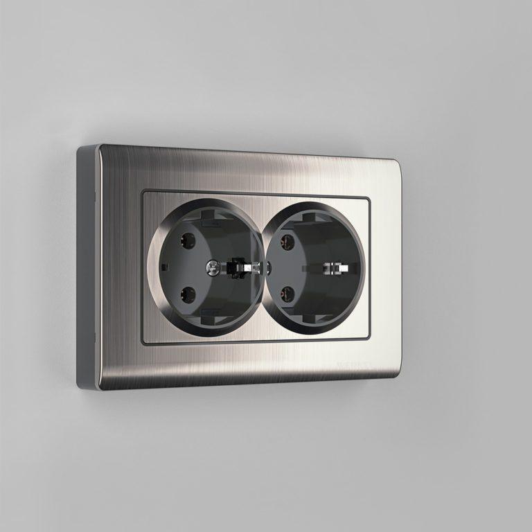 Розетка двойная с заземлением (глянцевый никель) W1172002