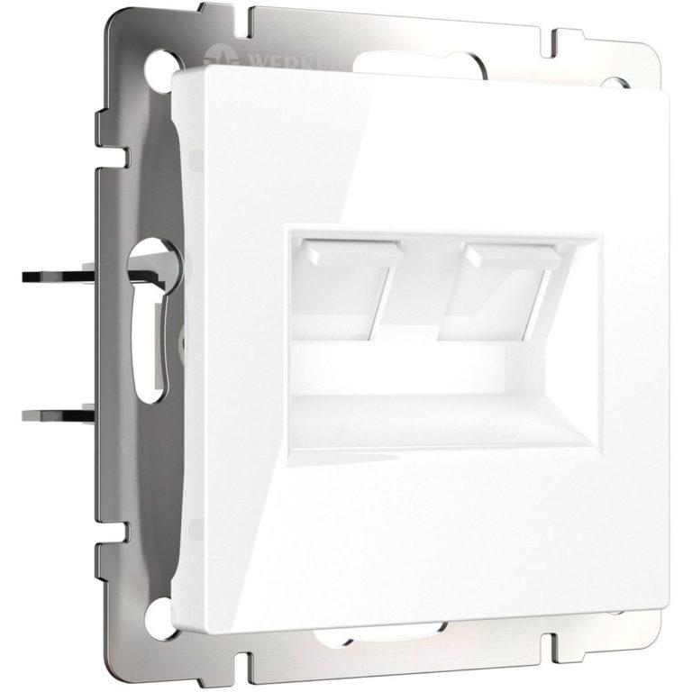 Розетка двойная Ethernet RJ-45 (белая) W1181101