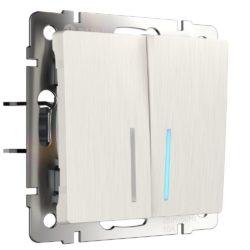 Выключатель двухклавишный с подсветкой (перламутровый рифленый) W1120113