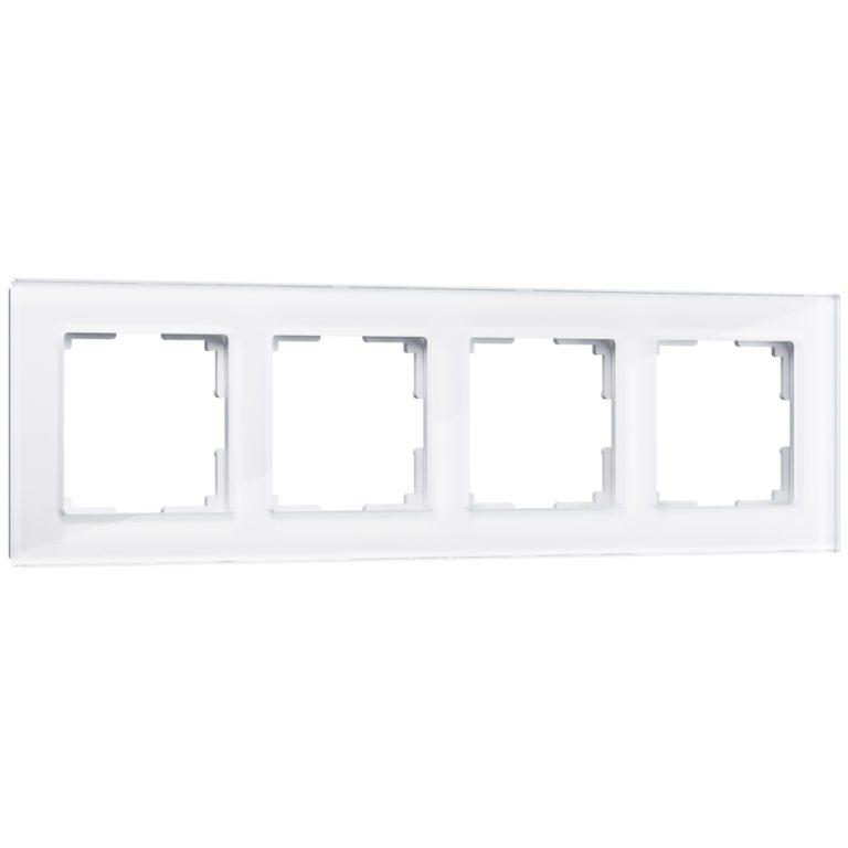 Рамка на 4 поста (белый, стекло) W0041101