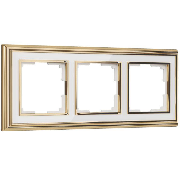 Рамка на 3 поста (золото/белый) W0031329