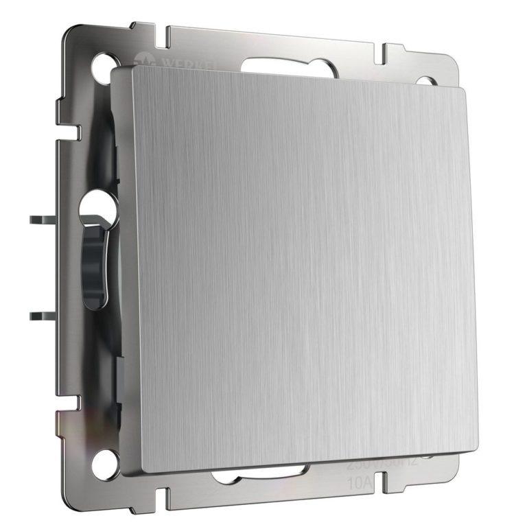 Выключатель одноклавишный проходной (cеребряный рифленый) W1112009