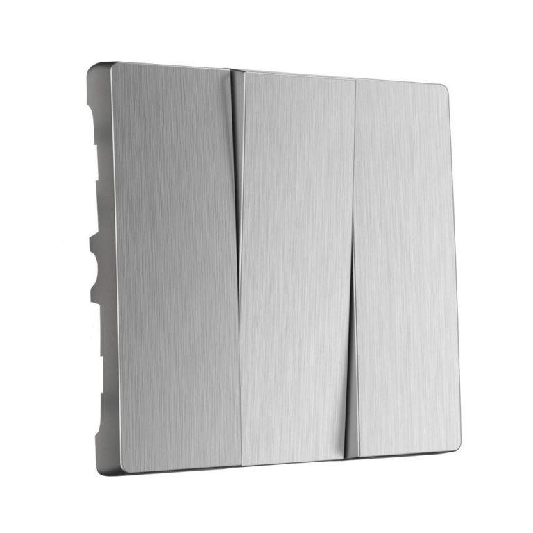 Набор клавиш для выключателя трехклавишного (cеребряный рифленый) W1139009