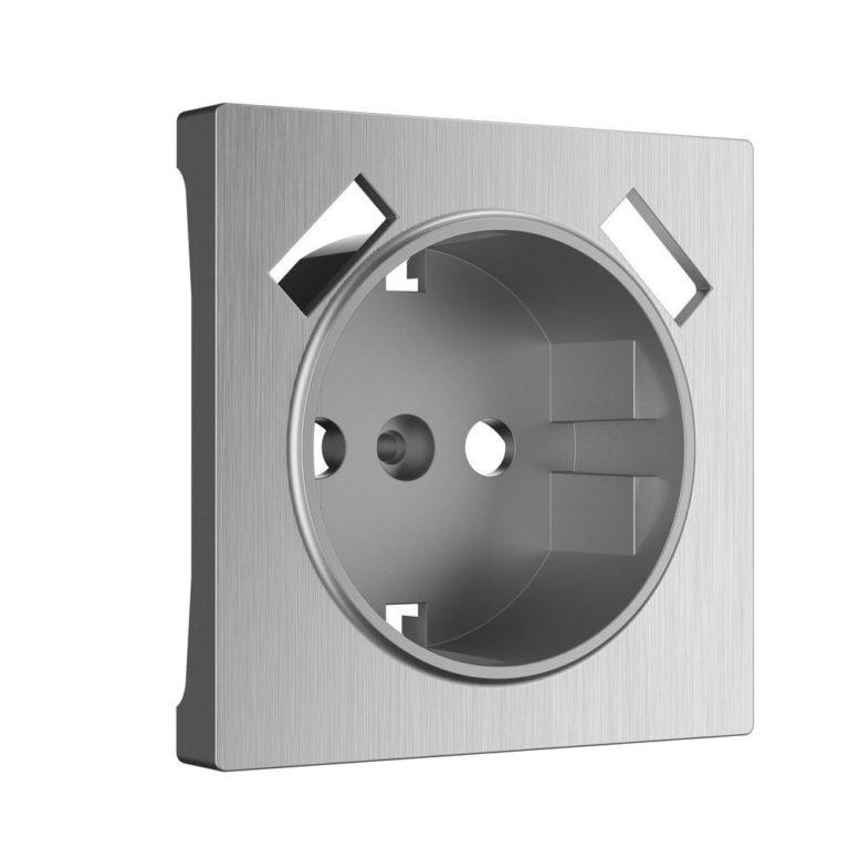 Накладка  для розетки USB (cеребряный рифленый) W1179509