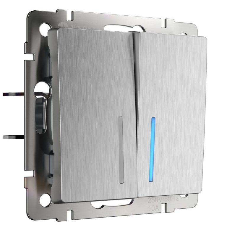 Выключатель двухклавишный проходной с подсветкой (cеребряный рифленый) W1122109