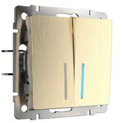 Выключатель двухклавишный с подсветкой (шампань рифленый) W1120110