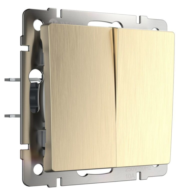 Выключатель двухклавишный проходной (шампань рифленый) W1122010