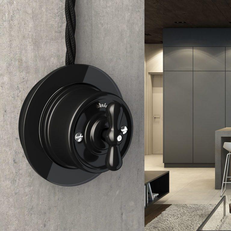 Переключатель одноклавишный (черный) Ретро W5612008