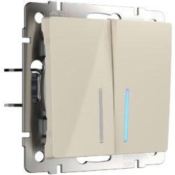 Выключатель двухклавишный проходной c подсветкой (слоновая кость) W1122103