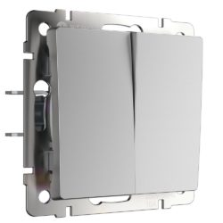 Выключатель двухклавишный (серебряный) W1120006