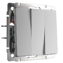 Выключатель трехклавишный (серебряный) W1130006