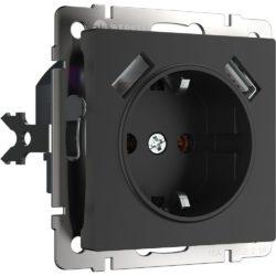 Розетка с заземлением, шторками и USBх2 (черный матовый) W1171508