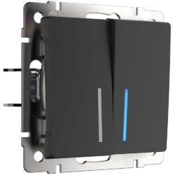 Выключатель двухклавишный с подсветкой (черный матовый) W1120108
