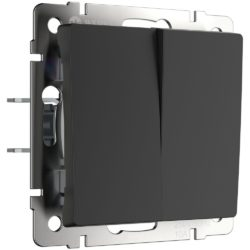 Выключатель двухклавишный проходной (черный матовый) W1122008
