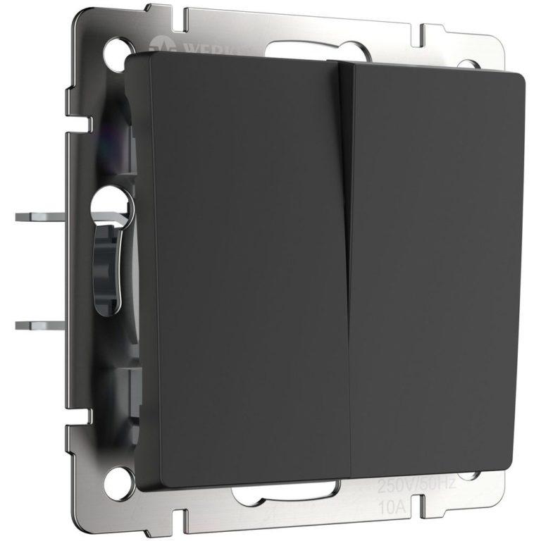 Выключатель двухклавишный (черный матовый) W1120008