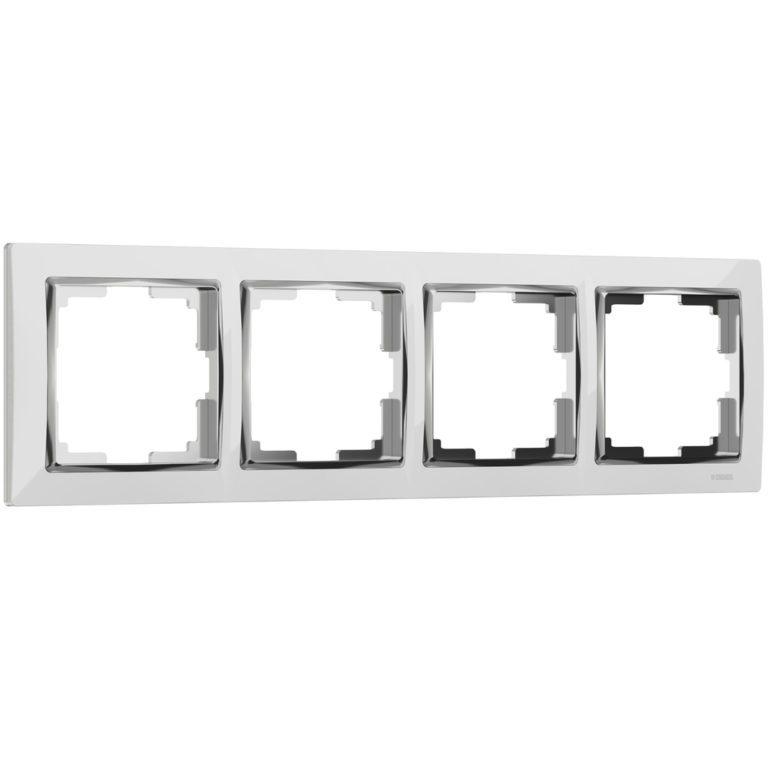 Рамка на 4 поста (белый/хром) W0041901