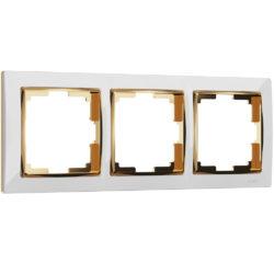 Рамка на 3 поста (белый/золото) W0031933