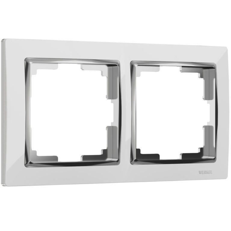 Рамка на 2 поста (белый/хром) W0021901
