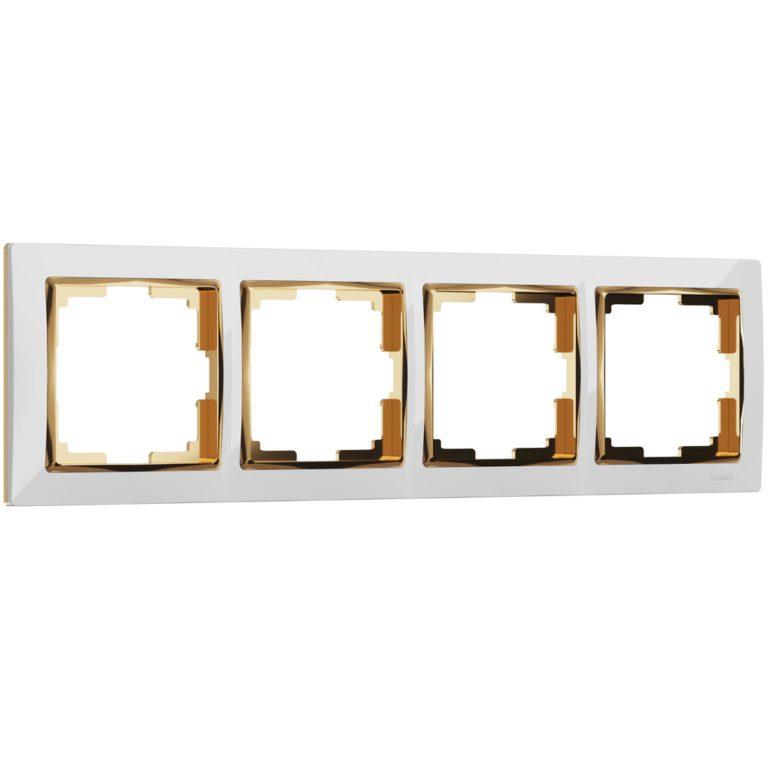Рамка на 4 поста (белый/золото) W0041933