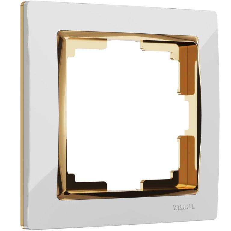Рамка на 1 пост (белый/золото) W0011933