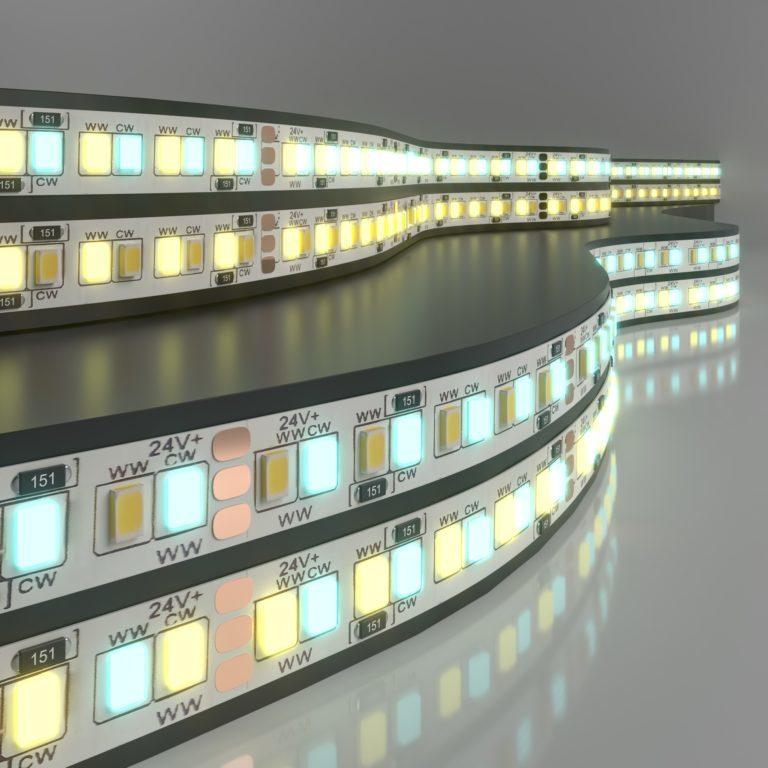 Светодиодная лента Лента светодиодная 24V 16W 240Led 2835+2835 IP20 MIX теплый белый/холодный белый, 5м