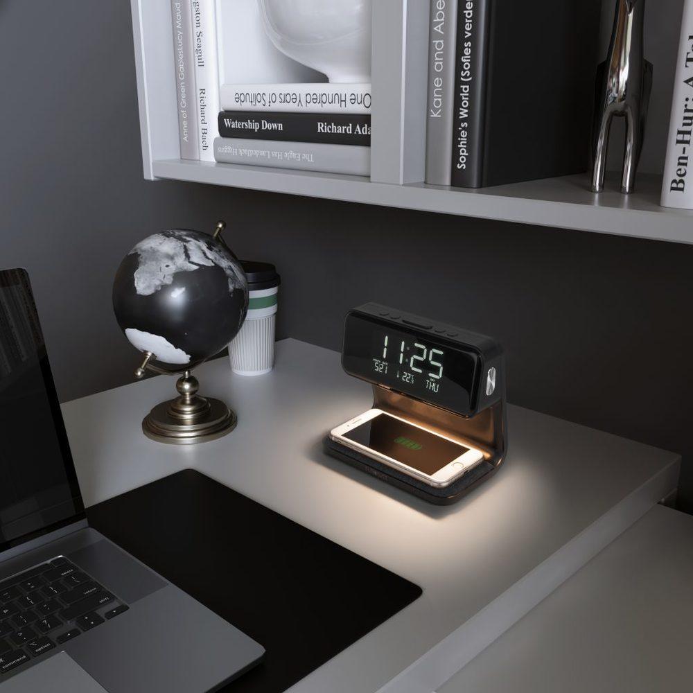 Светодиодная настольная лампа с беспроводной зарядкой и будильником 80506/1 черный