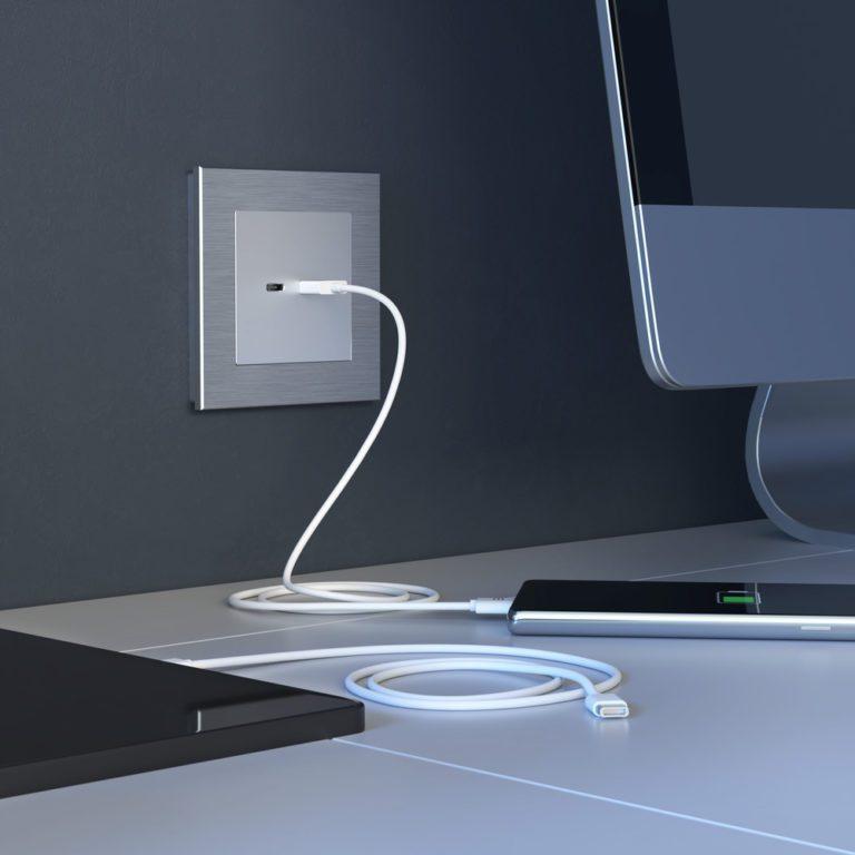 Розетка USB тип A+С (серебряный) W1171806