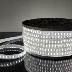 Лента светодиодная Premium 220V 18W 180Led 2835 IP65, холодный белый 6500K, 50 м, двухрядная LS011 220V