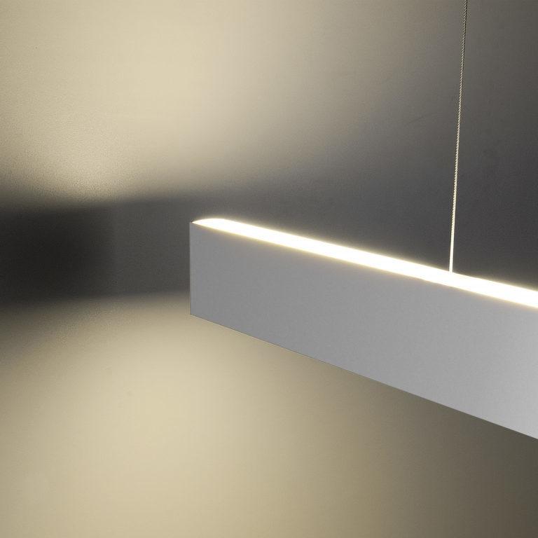 Линейный светодиодный подвесной двусторонний светильник 103см 40Вт 4200К матовое серебро 101-200-40-103