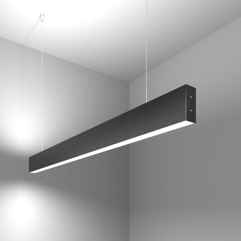 Линейный светодиодный подвесной двусторонний светильник 103см 40Вт 6500К черная шагрень 101-200-40-103