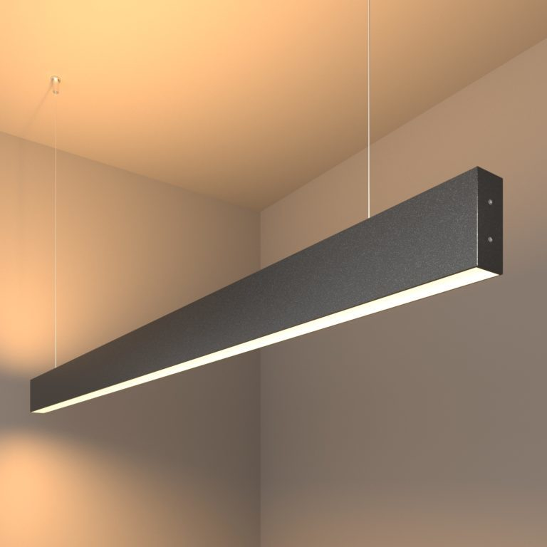 Линейный светодиодный подвесной двусторонний светильник 128см 50Вт 3000К черная шагрень 101-200-40-128