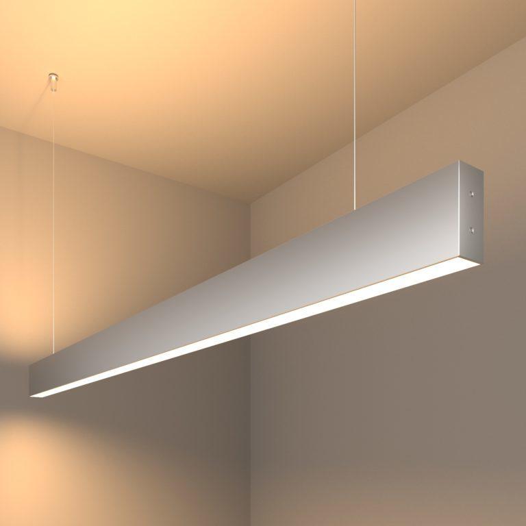 Линейный светодиодный подвесной двусторонний светильник 128см 50Вт 3000К матовое серебро 101-200-40-128