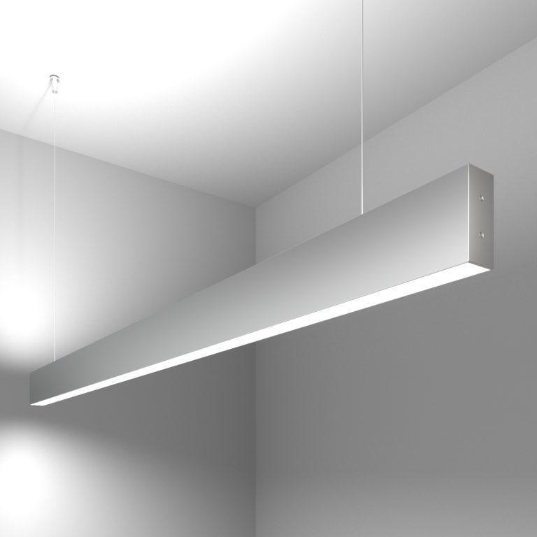 Линейный светодиодный подвесной двусторонний светильник 128см 50Вт 6500К матовое серебро 101-200-40-128