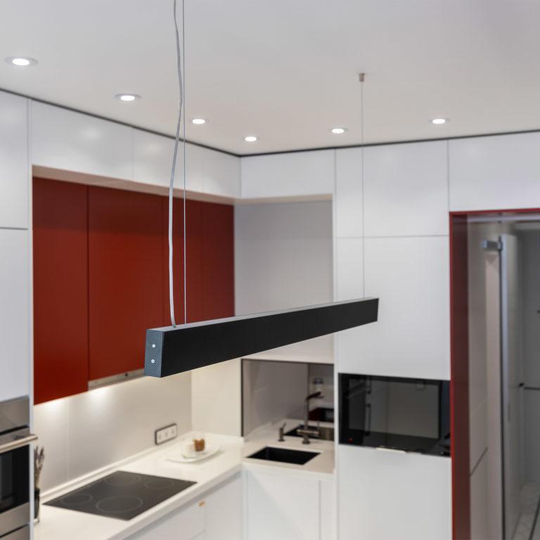 Линейный светодиодный подвесной односторонний светильник 103см 20Вт 6500К черная шагрень 101-200-30-103