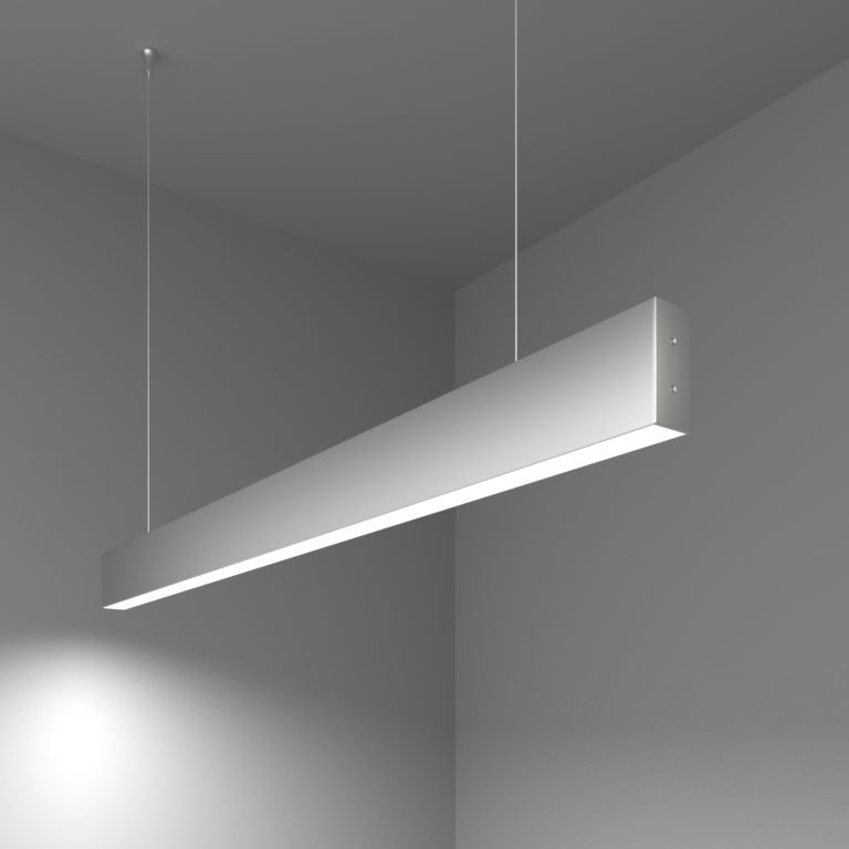 Линейный светодиодный подвесной односторонний светильник 103см 20Вт 6500К матовое серебро 101-200-30-103