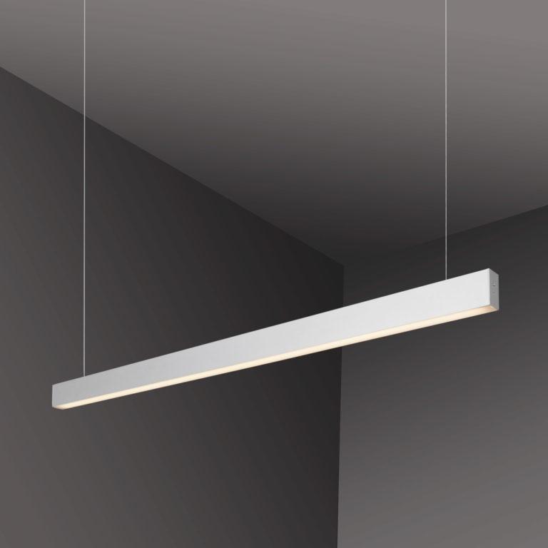 Линейный светодиодный подвесной односторонний светильник 128см 25Вт 4200К матовое серебро 100-200-40-128